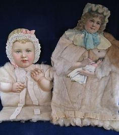 Pair of antique large cotton batting and die cut Christmas ornaments German (12/27/2012)