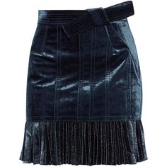 3.1 Phillip Lim Velvet and metallic chiffon mini skirt (€760) ❤ liked on Polyvore featuring skirts, mini skirts, chiffon skirt, blue chiffon skirt, blue metallic skirt, metallic mini skirt and velvet skirt