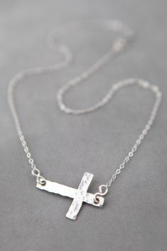 Large Hammered Cross Necklace Handcrafted by JenniferEngelDesigns, $49.00