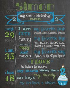 2nd Birthday Chalkboard Birthday Poster Sign Boy, 2 year old Memory Milestones, blue, lime green, *personalized custom digital printable* on Etsy, $24.00