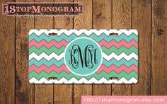Monogram chevron license plate monogrammed by 1stopmonogram