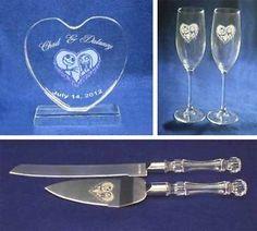 Nightmare before Christmas Wedding Glasses knife server cake topper set engraved   eBay