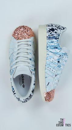 brand new e810f 7222b Blue splatter adidas superstar rose gold shell toe custom shoes