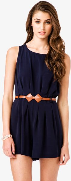 Forever 21 Blue Pleated Romper W Bowshaped Belt