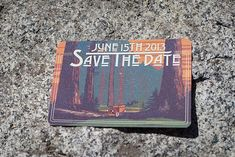 rustic save the date sequoia national park wedding
