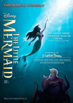 The LIttle Mermaid showing one night only, June 26!  For tickets, call 1-800-DISNEY6 or go to www.elcapitantickets.com!