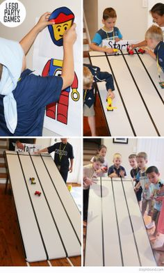 Lego race track. Build your own car, then race it down a table.