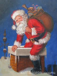 """Old Time Santa Claus Painting   ... 100% Handcraft Art Oil Painting On Canvas: Santa Claus 20 """"x24"""" inch"""