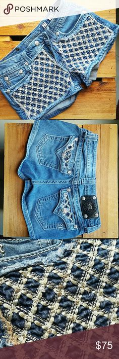 Miss me shorts size 27 worn a few times Blue jeans shorts like new worn a couple times too short for my likings Miss Me Shorts Jean Shorts
