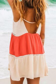 Stylish Spaghetti Strap Color Block Lace Splicing Backless Dress For Women