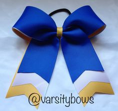 Royal Blue White Yellow/Gold Cheer Bow Softball Bow on Etsy, $8.00