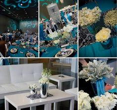 Turquoise with Black and White Damask    Wedding Walk Tacoma~Vivid Images Photography