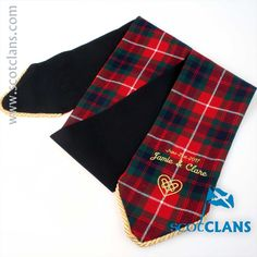 Fraser Tartan Handfasting Ribbon with custom Embroidery. Free Worldwide Shipping Available