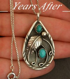 Vintage NATIVE American Turquoise NECKLACE Pendant NAVAJO Signed Sterling Silver Chain c.1970's!