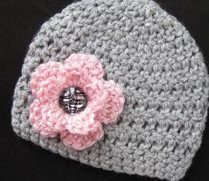 Baby Girl Hat Crochet Beanie Newborn Photo by BlossomsByJuneLynn, $20.00