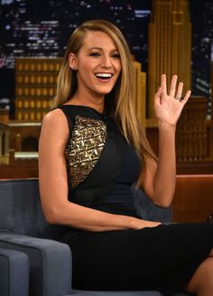 I loved her hair and outfit in this interview with Jimmy Fallon!! Blake Lively