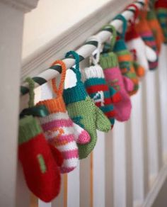 Bernat® Advent Mini Mittens #christmas #knit #pattern