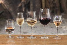 Taças para diferentes tipos de vinhos