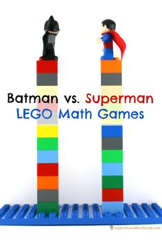 These LEGO math games with Batman and Superman are sure to please any super hero lover. Practice comparing numbers, addition, and subtraction. Super Hero Activities, Lego Activities, Math Games, Counting Games, Lego Games, Superhero Preschool, Superhero Classroom, Superhero Party, Lego Math