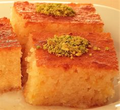 Sweet semolina cake with syrup is a very delicious traditional Turkish Dessert and also it's very easy to make. Just try Sweet semolina cake with syrup. Lebanese Desserts, Lebanese Recipes, Turkish Recipes, Greek Recipes, Greek Desserts, Romanian Recipes, Scottish Recipes, Semolina Recipe, Semolina Cake