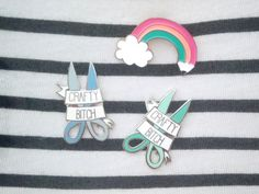 CRAFTY B*TCH hard enamel pin | Lapel pin | Cute mint scissors | bright pastel | arts and crafts | Stocking Fillers | gift for women  | Pins by Megan McNulty