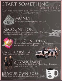 Make money, drive a paid for care, be your own boss, build your self confidence, always have room for advancement and constantly get recognized for your hard work?! Who wouldn't love the Mary Kay opportunity!