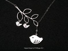 Bird initial,Bird Necklace,Mom and baby,Mother Jewelry,Initial necklace,Mother's day,Family Bird,Lariat Sterling Silver Necklace on Etsy, $36.50