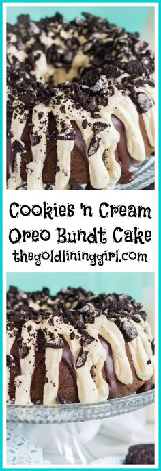 Oreo Bundt Cake recipe image thegoldlininggirl.com pin