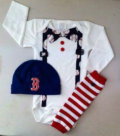 Boston Red Sox Baby, Baby Sports Onesie , MLB, Baseball Bow Tie Suspenders Outfit, Leg-warmers, Boston Redsox Hat, Baseball Onesie