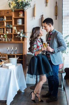 Cheers // Our Festive Holiday Brunch Party - Extra Petite christmas holiday party dressy plaid couple outfits boston Brunch Outfit, Thanksgiving Outfit, Diy Tulle Skirt, Tulle Skirts, Black Tulle Skirt Outfit, Plaid Shirt Outfits, Plaid Shirts, Extra Petite, Outfits Damen