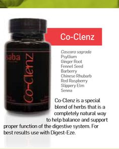 Co-Clenz is a special blend of herbs that is a completely natural way to help balance and support proper function of the digestive system. For best results use with Digest-Eze.  Ingredients: Cascara sagrada Psyllium Ginger Root Fennel Seed Barberry Chinese Rhubarb Red Rasberry Slippery ...