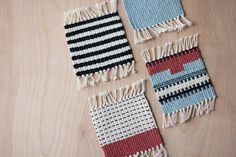 Woven coasters // handwoven mug rugs // set of 4 by GartenCraft