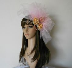 Pink Bridal Fascinator Pearls,Rhinestones,Feathers | IrmasElegantBoutique - Accessories on ArtFire