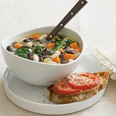 Two-Bean Soup with Kale via CookingLight.com #MeatlessMonday