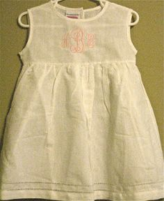 White Linen Dress with Monogram (thread color of your choice) $40.00