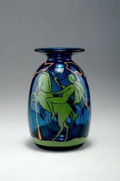 Marcel Goupy (1886-1954), Enamel Decorated Glass Vase.