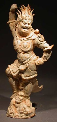 "T'ang Painted Terracotta Sculpture of a Lokapala - H.754 Origin: China Circa: 618 AD to 906 AD Dimensions: 17.75"" (45.1cm) high Collection: Chinese Medium: Painted Terracotta"