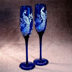 Peacock Wedding Champagne Flutes Cobalt Blue Etched by bradgoodell, $56.00