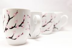 Cherry Blossoms  Hand painted mugs Painted coffee mugs by RaeSmith