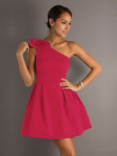 A-line One Shoulder Fuchsia Ruffled Taffeta Short/Mini Dress at Dresseshop