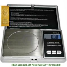 1 DIGITAL JEWELRY POCKET SCALE-Jeweler Lapidary CARATS Tool-Rough Diamond/Gemstone Gems + 5 Gram Gold Test Bar by DigiWeigh/PuriTEST. $23.99. This electronic pocket scale is perfect for virtually any small item you can think of, and has been used within the home as well as by professionals. The flip-open cover protects the stainless steel weighing platform when the scale is not in use. The bright blue LCD display makes it very easy to read in the dark.  Great for we...