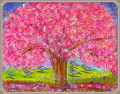 Pink tree by ArtByCalzada on Etsy