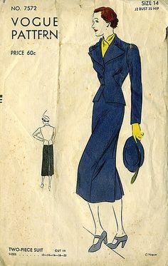 Vogue 7572 | ca. 1937 Two-Piece Suit
