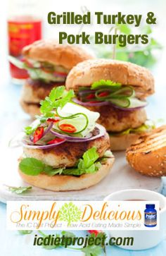 Grilled Turkey and Pork Burgers from the IC Diet Project (aka Simply Delicious: Low Acid Eating Made Simple) made possible by Prelief and the Interstitial Cystitis Network!