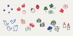 2-3. アイコンを描いてみよう | 4色ボールペンで!かわいいイラスト描けるかな Japanese Drawings, Mini Drawings, Kawaii Drawings, Doodle Drawings, Easy Drawings, Doodle Art, Pen Doodles, Kawaii Doodles, Cute Doodles