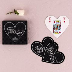 """""""Two of a Kind"""" Heart Shaped Playing Cards (24 sets)"""