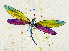 So delicate, yet so beautiful. Watercolour Dragonfly