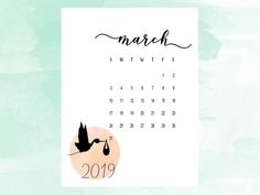 Pregnancy announcement calendar March 2019, Social Media Due Date reveal, Expecting baby printable calendar, pregnancy announcement idea