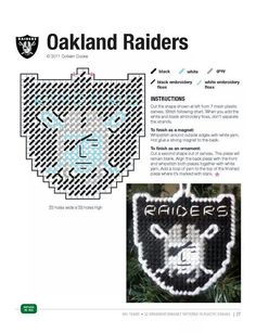 OAKLAND RAIDERS ORNAMENT/MAGNET Plastic Canvas Stitches, Plastic Canvas Coasters, Plastic Canvas Ornaments, Plastic Canvas Tissue Boxes, Plastic Canvas Christmas, Plastic Canvas Crafts, Plastic Canvas Patterns, Plastic Sheets, Football Crafts
