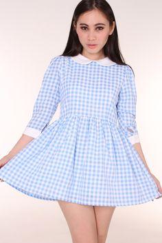 gfdstore | Caroline Baby Doll Dress in Blue Gingham